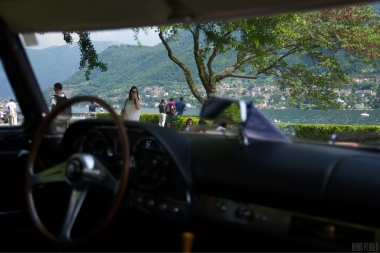 Magnificent view at Lake Como through the windscreen of Maserati 5000GT.